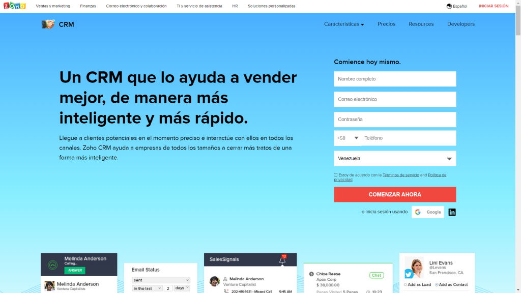 CRM Zoho - Zoho CRM - Soho CRM - ZohoCRM - CRM Gratuito en Español - CRM Gratis en Español - Software CRM