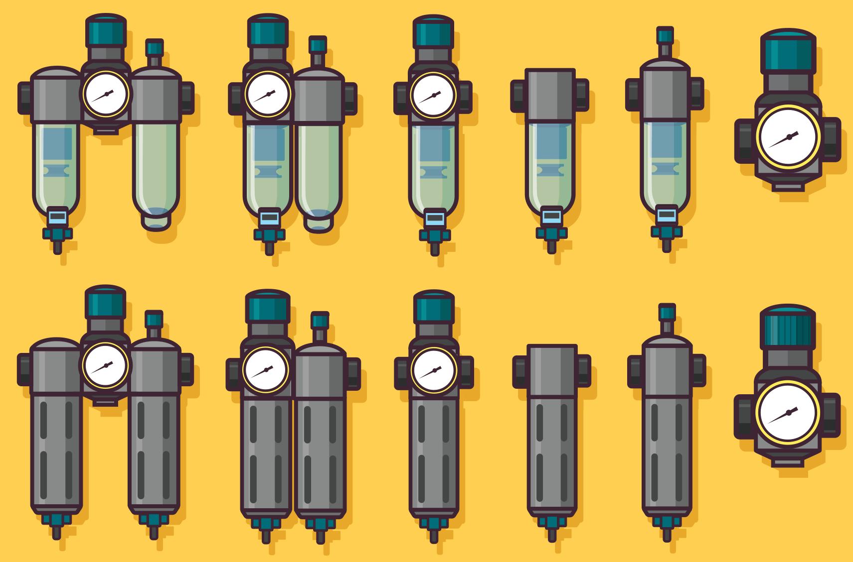 Representación de los tipos y partes de una unidad de mantenimiento neumático o FRL