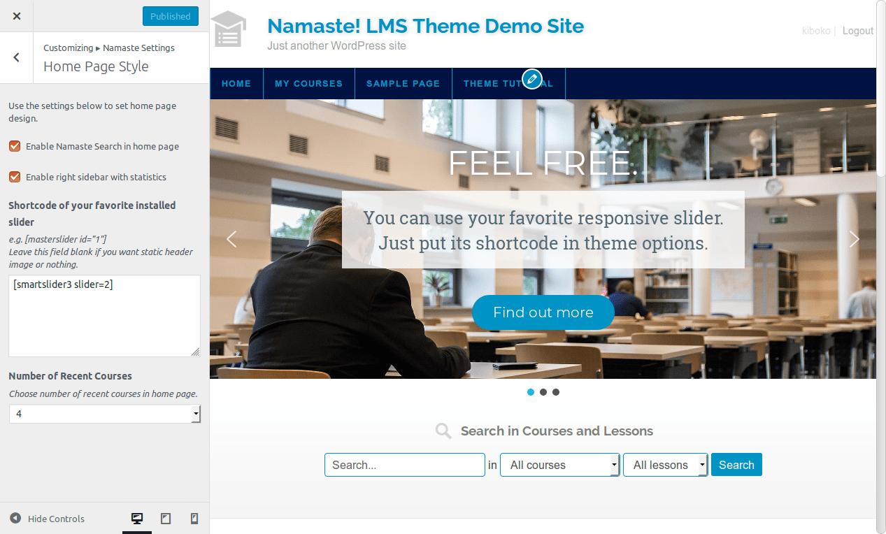 Namaste LMS es un plugin para crear  plataformas educativas.